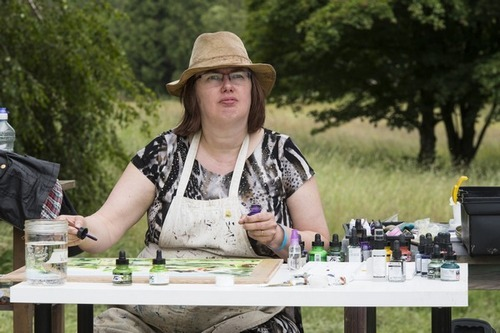 Cathy Read painting during Landscape Artist of the Year Competition - Courtesy Storyvault Films
