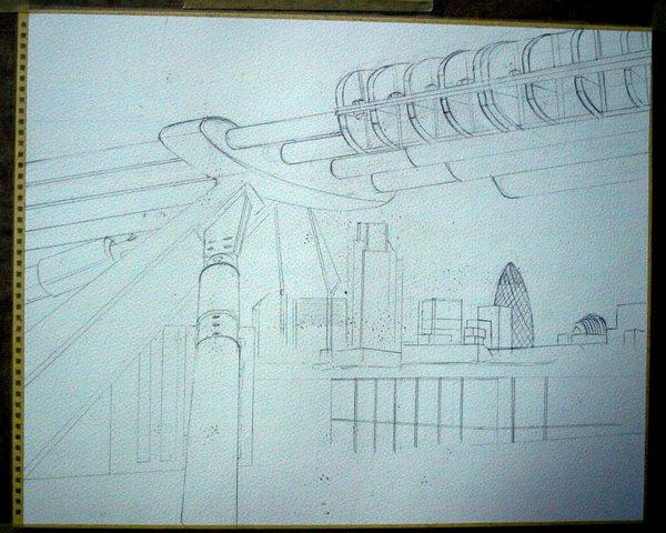 ©2012 - Cathy Read - City Connections - Pencil sketch - 40x50cm