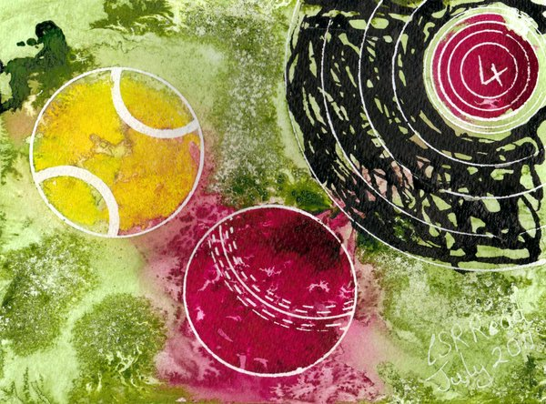 ©2011-Cathy Read - Summer Games 4-14.3x18.9cm - Mixed media - £70