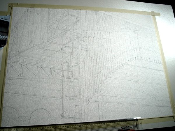 ©2012 - Cathy Read - Marylebone Station work in progress - Pencil on Paper- 56 x 76cm