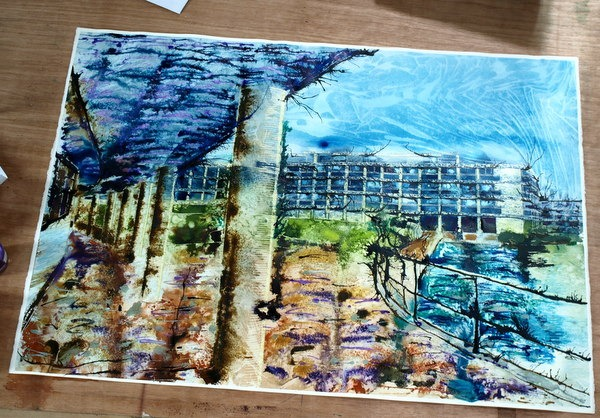 ©2013 - Cathy Read - Wolfson College Work in Progress - Watercolour and Acrylic- 75 x 55 cm