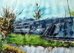 Keble College, Oxford - The Spaceship - ©2013 - Cathy Read - Watercolour and Acrylic - 55 x 75 cm - £1200 Painting of the Student union bar at Keble college, Oxford. Also known as the Spaceship