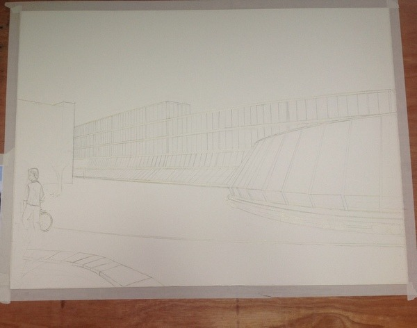 ©2013 - Cathy Read - Work in Progress Keble College Oxford, - Spaceship - Pencil - 55 x 75 cm