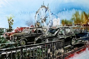 London architecture ©2014 - Cathy Read - Taxi Marathon 2- Watercolour and Acrylic on paper on board -30 x 45 cm - SOLD