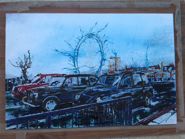 ©2014 - Cathy Read - Work in Progress - Taxis Marathon- Watercolour and Acrylic on paper on board -30 x 45 cm