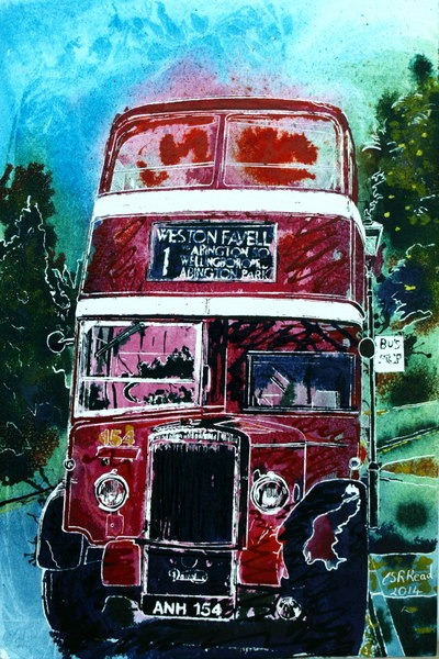 ©2014 - Cathy Read - Bus Selfie- Watercolour and Acrylic on paper on board -30 x 45 cm HR