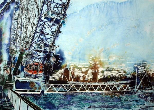 Painting of the Thames, London Eye and Houses of Parliament against a misty sky.©2014-Cathy-Read-Misty-Wheel-Watercolour-and-Acrylic-55-x-75-cm