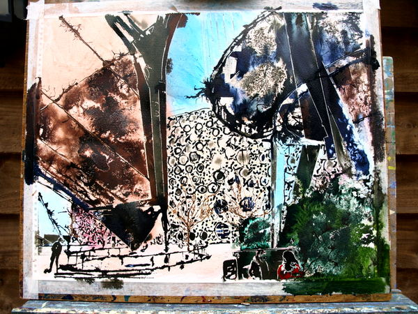 ©2014 - Cathy Read - Work in Progress Greenwich Geometry - Watercolour and Acrylic -40 x 50 cm