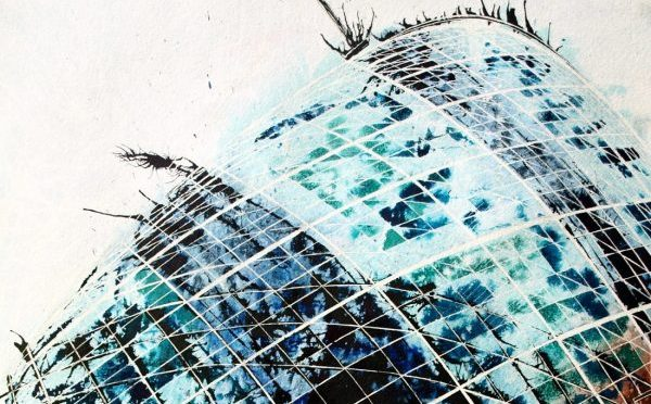 #GherkinPainting Painting of the #Gherkin in London Looking up at the top of the Gherkin