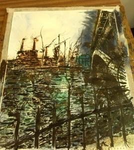 ©2014 - Cathy Read - Work in Progress - Battersea under Chelsea - Watercolour and Acrylic
