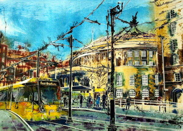©2015 - Cathy Read - Catching a tram from the Library - Watercolour and Acrylic -55 x 75 cm