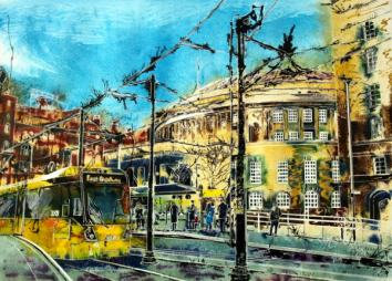 Stopping at Central Library - ©2015 - Cathy Read - Watercolour SOLdand Acrylic -55 x 75 cm - SOLD