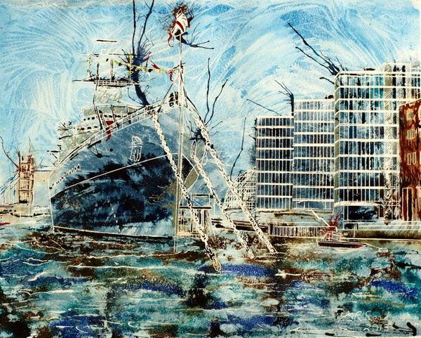 ©2013 - Cathy Read - HMS Belfast - Watercolour and Acrylic - 40 x 50 cm