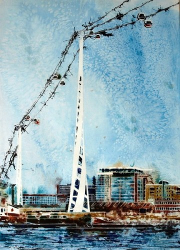 Painting of the cable car that crosses the Thames at Greenwich©2014 - Cathy Read - Flight over the Thames- Watercolour and Acrylic Ink - 75 x 55 cm