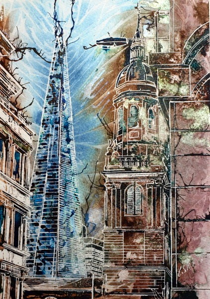 Painting of The Shard, #London #ShardPainting Hidden Shard ©2014-Cathy Read-Watercolour and Acrylic-29.7x21cm £180