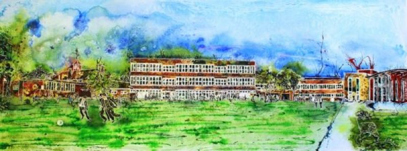 ©2013-Cathy Read - Royal Latin School - Building on 600 yearsWatercolour and Acrylic ink - 43 x 106cm
