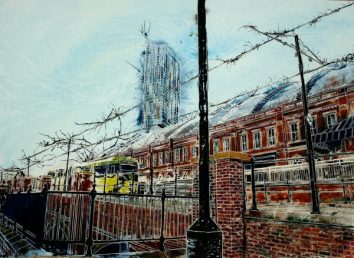 Painting of a tram coming into the tram stop by Manchester Central Station or GmexPiccadilly Bound - ©2015 - Cathy Read - Watercolour and Acrylic - 55 x 75cm £1200