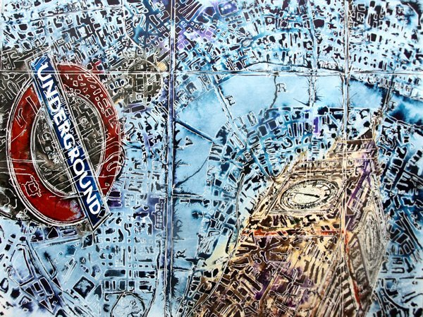 ©2016-Cathy Read-London Maps- Watercolour and Acrylic painting, new painting