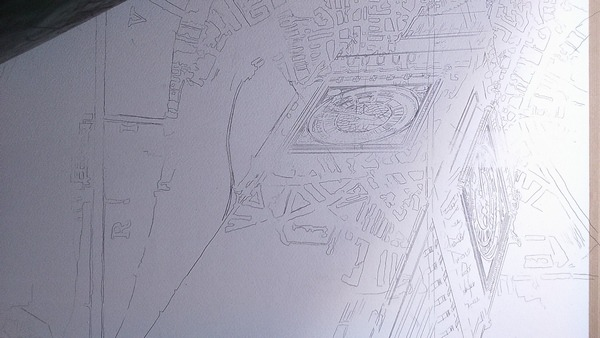 ©2016- Cathy Read London Maps painting in progress -Graphite image