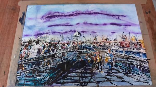 ©2016 Cathy Read - People Crossing the Millenium Bridge Working title -50.1 x 67.2cm HR Work in progress sky detail
