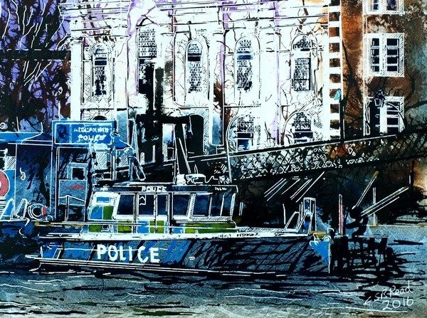 Police Boat Painting moored at a jetty against the North bank of the ThamesPolice Boat - ©2016 - Cathy Read - Watercolour and Acrylic on paper - £337