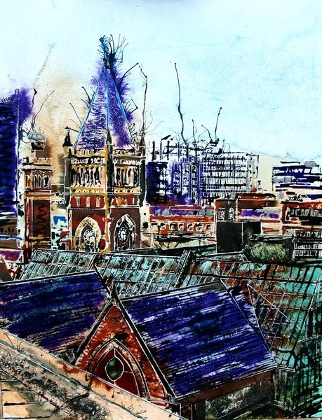 Painting of the rooftops of Manchester©2017-Cathy-Read-Manchester-Skyline-and-Court-Watercolour-and-Acrylic-