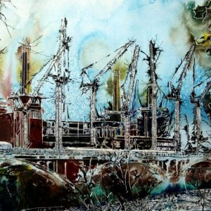 ©2015 - Cathy Read -Battersea Reborn - Watercolour and Acrylic - 55x75 cm