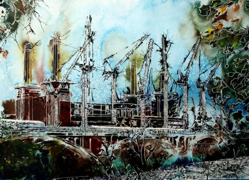 ©2015 - Cathy Read -Battersea Reborn - Watercolour and Acrylic - 55x75 cm