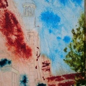 ©2017 - Cathy Read -Claydon House Courtyard Clock tower Painting begins - watercolour and Acrylic- 40 x 50 cm 600