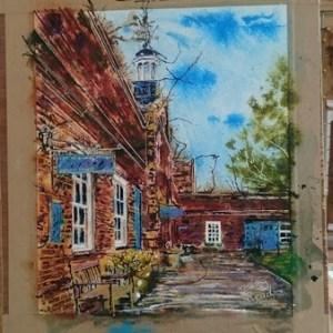 ©2017 - Cathy Read -Claydon House Courtyard Clocktower- watercolour and Acrylic- 40 x 50 cm 600