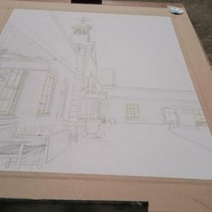 ©2017 - Cathy Read -Claydon House Courtyard ClocktowerWIP - pencil and masking fluid- 40 x 50 cm 600