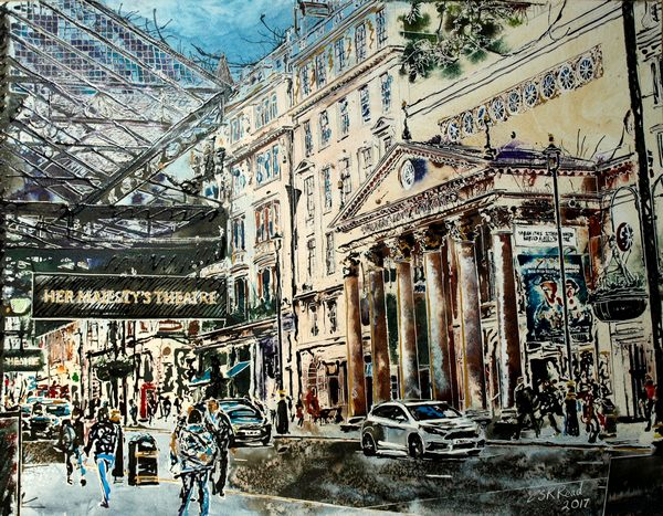 ©2017-Cathy-Read- Painting of The Haymarket, London -watercolour and acrylic ink-56x76cm - £1247