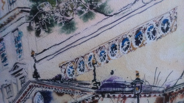©2017 - Cathy Read - The Haymarket - Work in progress window detailwatercolour and acrylic ink - 40 x 50 cm