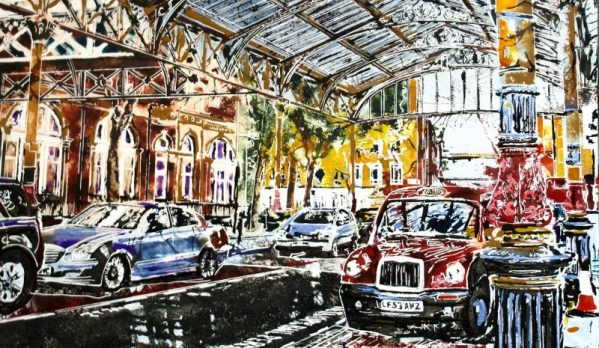 London Painting in progress, video of the creation of Maylebone station ©2017 - Cathy Read - Painting detail, Marylebone Station - Watercolour and Acrylic - 51 x 61cm