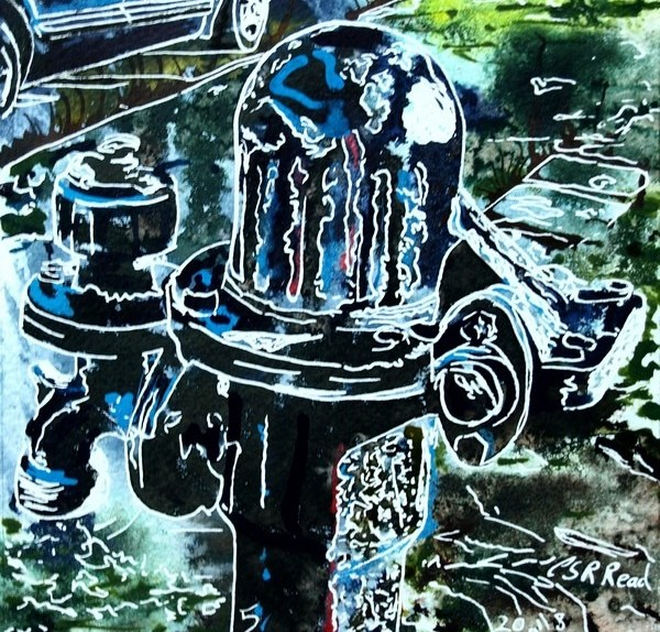 painting of a village waterpump by Cathy Read