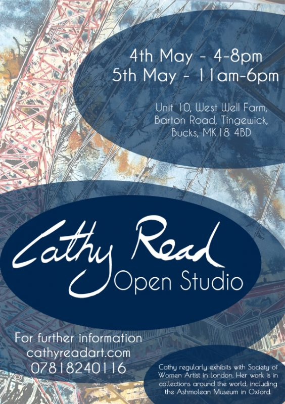 Invitation to Cathy Read Art open Studio on 4th May and 5th May