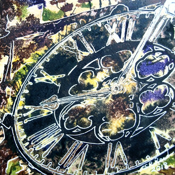 Marking Time - ©2018-Cathy-Read - 1 of 4950 Series - Watercolour-and-Acrylic-17.8x17.8cm - SOLD Painting of Church Clock face of Buckingham Parish Church