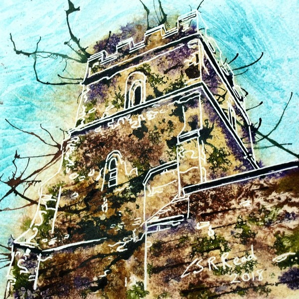 Painting of stonework of Radclive church tower ©2018-Cathy-Read-12-Tower-Watercolour-and-Acrylic-17.8x17.8cm-