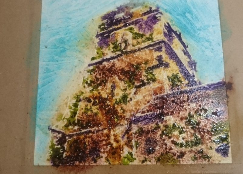 Painting in progress of Radclive church tower