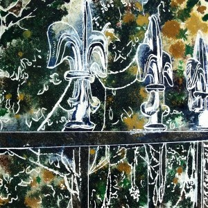 Silver Tips - ©2018-Cathy-Read - 2nd of 4950 Series - Watercolour-and-Acrylic-17.8x17.8cm. Painting of railings covered with frosty cobwebs