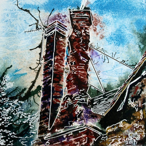 Painting of the Twisted chimney, a brick chimney on the church Street Manor House in Buckingham