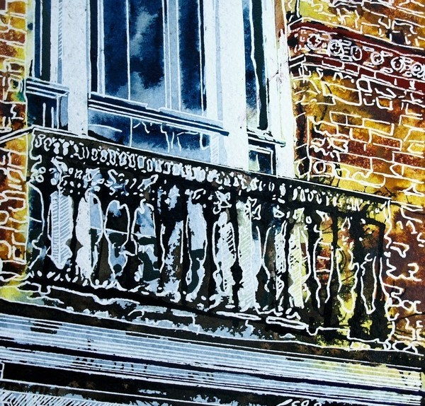 Painting of a juliet balcony above a shop in Buckingham. Juliet-Balcony ©2018 - Cathy Read - 9 of 4950 Series - Watercolour-and-Acrylic-17.8x17.8cm