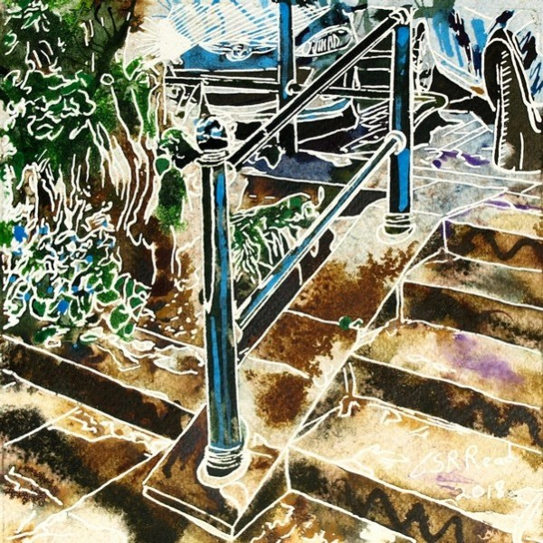 Painting of a handrail and steps. Hand Rail - ©2018 - Cathy Read - 16 of 4950 Series - Watercolour-and-Acrylic-17.8x17.8cm - £145