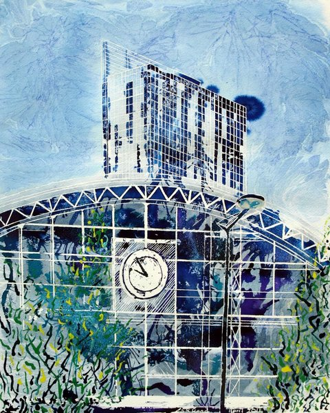 Manchester Central Painting of Manchester's Gmex Centre, Former Central Railway station and Beetham TowerDecades Apart- Cathy Read - Watercolour and acrylic ink - 40x50cm