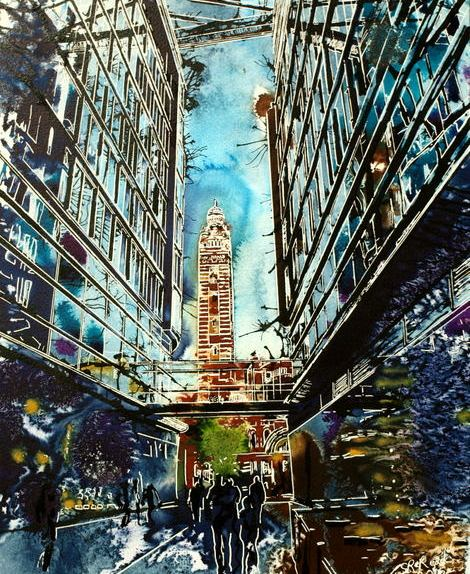 Painting of Westminster Cathedral seen through the entrance to a shopping centre. LondonLight at the End of the Tunnel - ©2015-Cathy Read-Watercolour-and-Acrylic-50x40-cm - £577