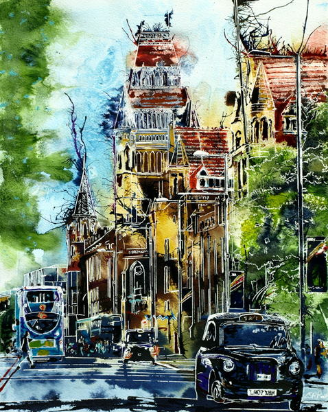 Painting of Manchester University Museum and a Taxi heading towards town on Oxford StreetThe Knowledge -©2016 Cathy Read - Watercolour and acrylic ink - 40x50cm - £570 framed