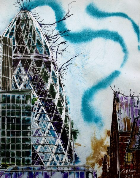 Painting of the Gherkin and surrounding buildings on the London skylineWhispering Glass-©2018-Cathy Read-Watercolour and Acrylic ink-50x40cm