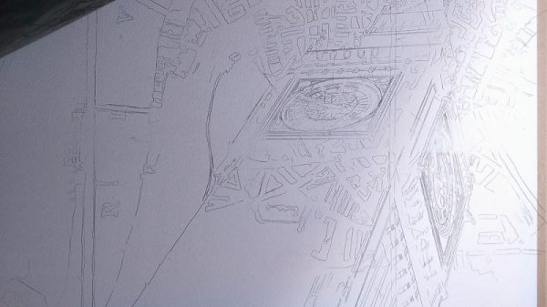 Pencil Drawing of Big Ben, underground sign and London Map