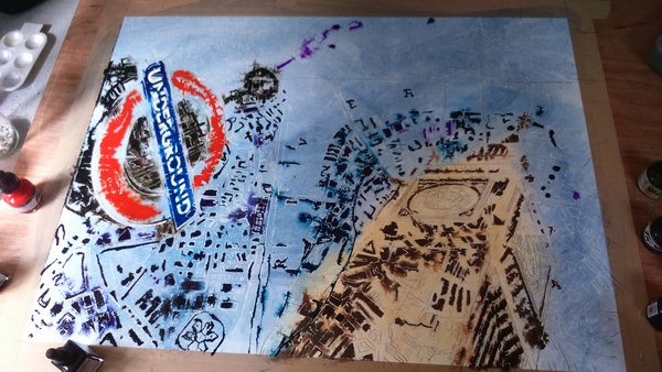 Painting in progress of of Big Ben, underground sign and London Map using acrylic ink and watercolour©2016- Cathy Read-London Maps painting in progress painting -Watercolour and Acrylic - 56x76cm