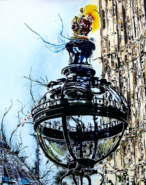 Painting of a street light outside the Houses of Parlaiment. Part of Big BenGlobe Light - ©2017 - Cathy Read - 55 x 75cm - £575